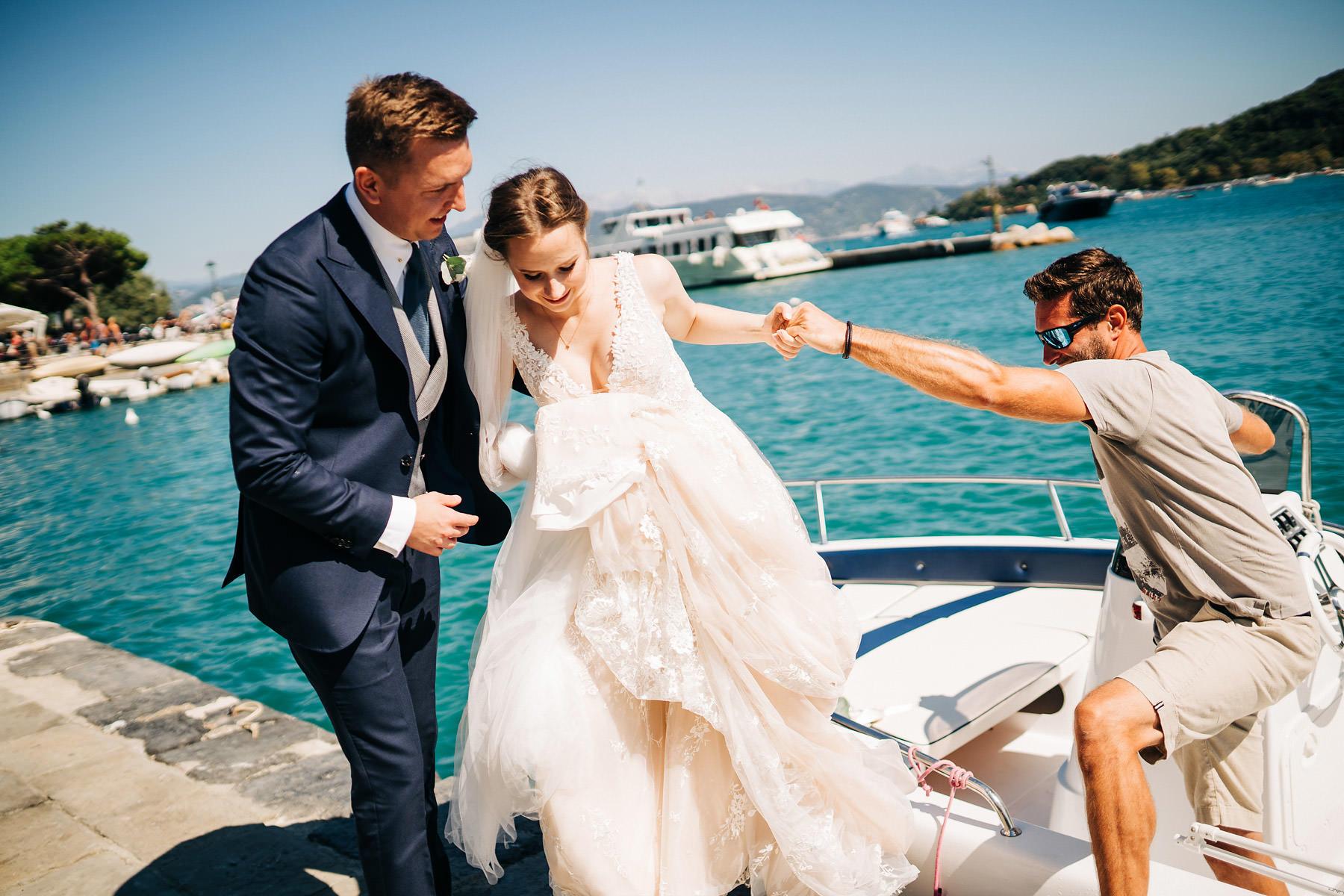 ślub w portovenere motorówka